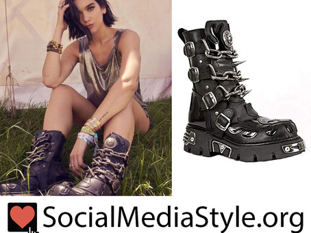 Dua Lipa's spike, chain, flame, and skull detail boots