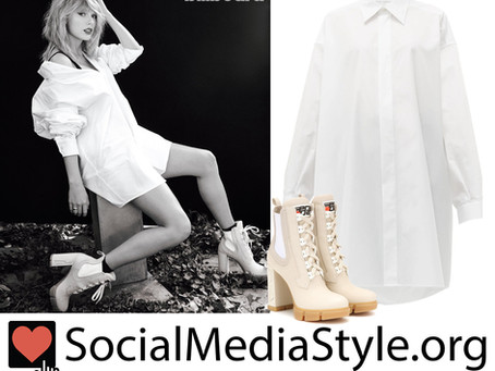Taylor Swift's white shirt dress and cream ankle boots from Billboard