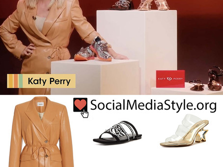Katy Perry's brown vegan leather blazer dress and Katy Perry Collections shoes from Amazon Live