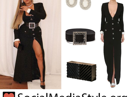 Beyonce's black embellished button dress and accessories