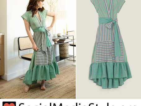 Zooey Deschanel's green striped dress
