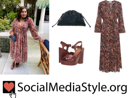 Mindy Kaling's floral print dress, navy clutch, and brown sandals