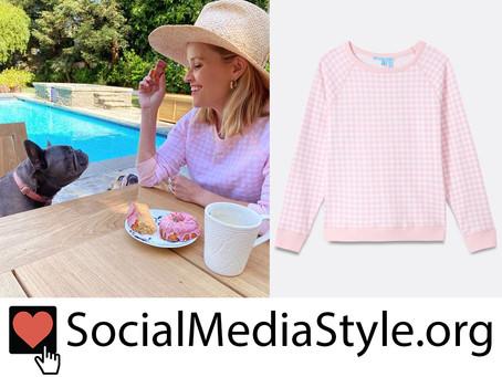Reese Witherspoon's Draper James pink gingham sweatshirt