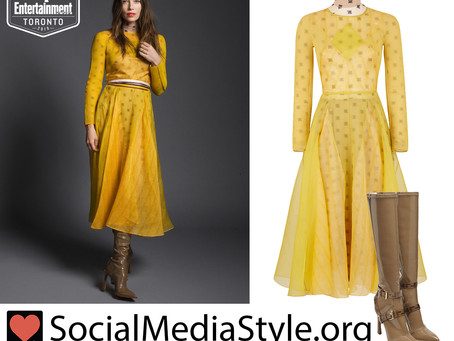 Jessica Biel's yellow dress and brown boots from the 2019 TIFF