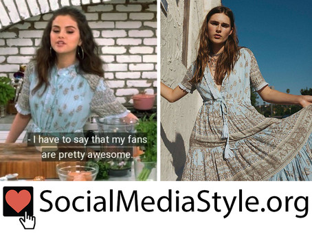 Selena Gomez's blue print dress from Selena + Chef