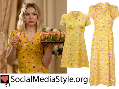 Eleanor (Kristen Bell)'s yellow polka dot and seagull print dress from The Good Place