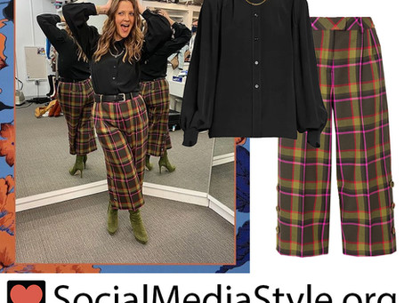 Drew Barrymore's black chain detail blouse and plaid culottes from The Drew Barrymore Show