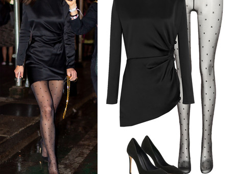 Katie Holmes' black satin dress, polka dot tights, and black pumps