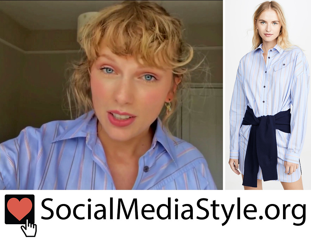 Taylor Swift S Striped Shirtdress From The 2020 Mtv Video Music Awards