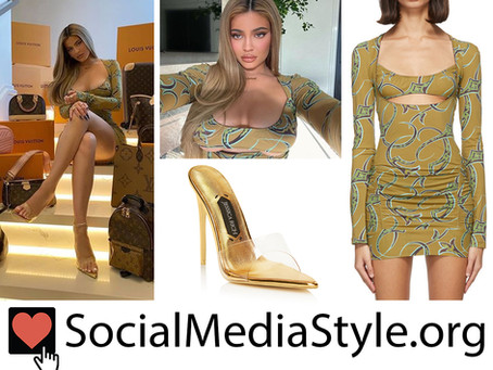 Kylie Jenner's green print cutout dress and gold mules
