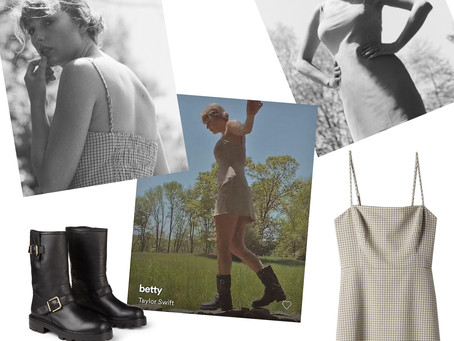 Taylor Swift's beige check print dress and biker boots