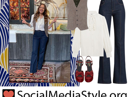 Drew Barrymore's white blouse, vest, flared jeans, and red platforms from The Drew Barrymore Show