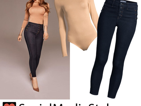 Sofia Vergara's Sofia Jeans camel turtleneck bodysuit and button-detail skinny jeans