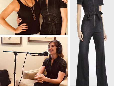 Alison Brie's black denim jumpsuit