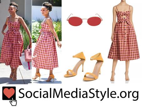 Kerry Washington's red sunglasses, gingham dress, and orange sandals