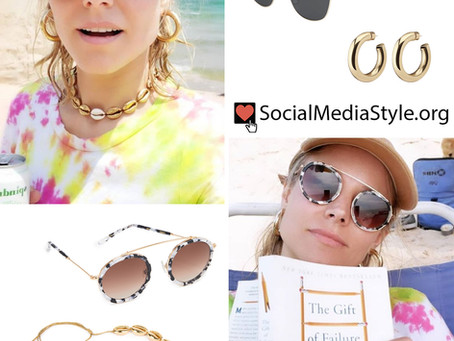 Kristen Bell's sunglasses, hoop earrings, and gold puka shell necklace