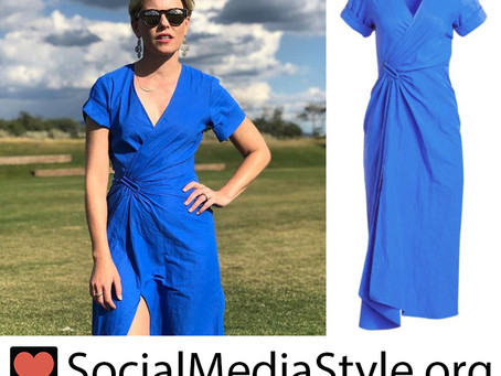 Elizabeth Banks' blue wrap dress