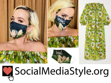 Katy Perry's Daisies face mask and green floral print off-the-shoulder dress