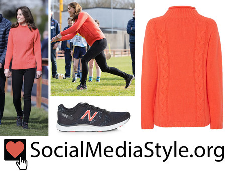 Kate Middleton's coral sweater and sneakers