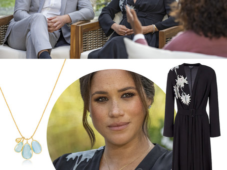 Meghan Markle's aquamarine necklace and black abstract flower dress from her interview with Oprah