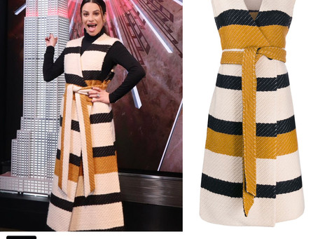 Lea Michele's striped long vest from the 2019 Holiday Light Show at The Empire State Building