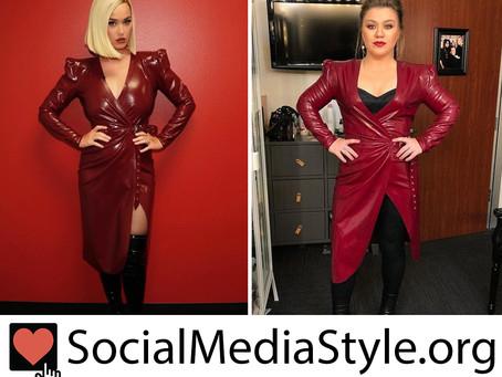 Katy Perry and Kelly Clarkson's burgundy latex dress