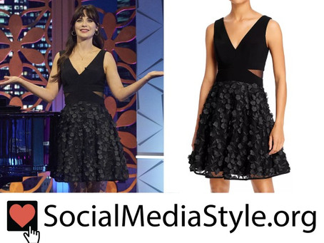 Zooey Deschanel's black floral applique dress from The Celebrity Dating Game