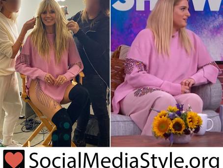 Heidi Klum and Meghan Trainor's pink crystal fringe embellished sweater