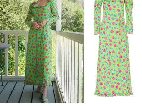 Zoey Deutch's green floral print dress from The Tonight Show Starring Jimmy Fallon