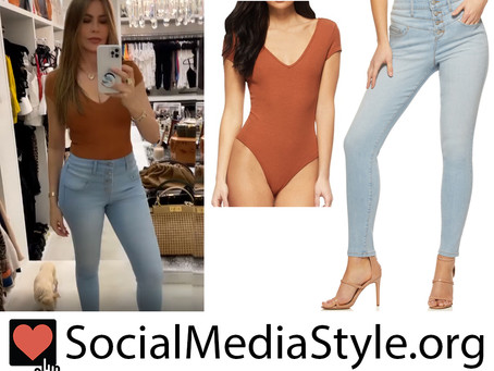 Sofia Vergara's Sofia Jeans amber brown bodysuit and high-rise jeans