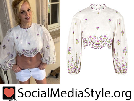 Britney Spears' floral embroidered white crop top