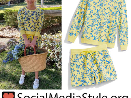 Reese Witherspoon's Draper James yellow floral print sweatshirt and shorts