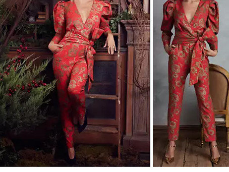 Kate Hudson's puff sleeve red jacquard jumpsuit