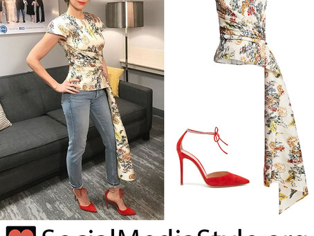 Alison Brie's floral print asymmetrical top and red crystal strap pumps from The View