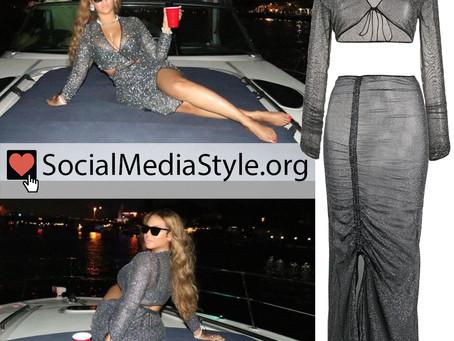 Beyonce's metallic shrug and skirt
