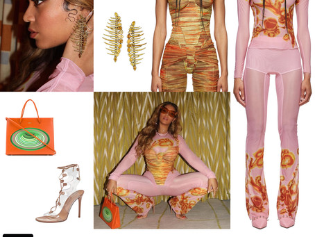 Beyonce's pink and orange outfit and fun accessories