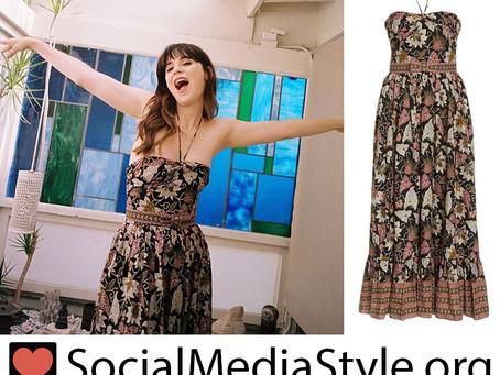 Zooey Deschanel's floral print halter dress