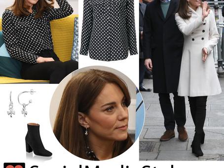 Kate Middleton's white coat, polka dot shirt, shamrock earrings, and black ankle boots