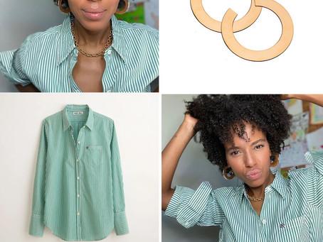 Kerry Washington's flat hoop earrings and green striped shirt
