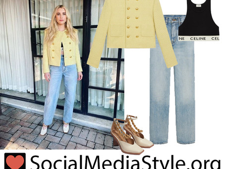 Emma Roberts' yellow tweed jacket, black sports bra, jeans, and chain detail ivory pumps