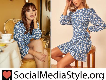 Zooey Deschanel's blue floral print dress