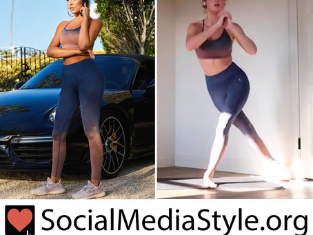 Khloe Kardashian and Brie Larson's Good American dip dyed sports bra and leggings