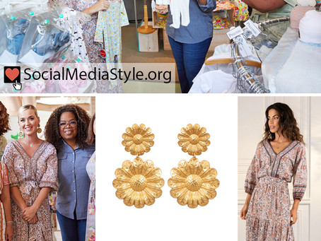 Katy Perry's daisy earrings, floral print maxi dress, and brown sandals