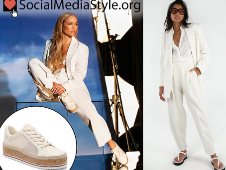 Jennifer Lopez's white outfit and platform espadrille and cork sneakers