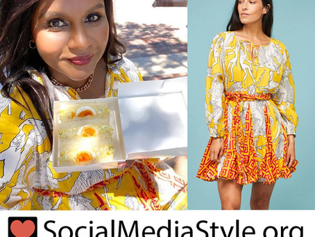 Mindy Kaling's yellow print dress
