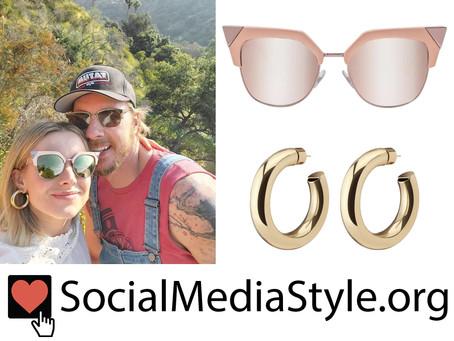Kristen Bell's cat eye sunglasses and hoop earrings