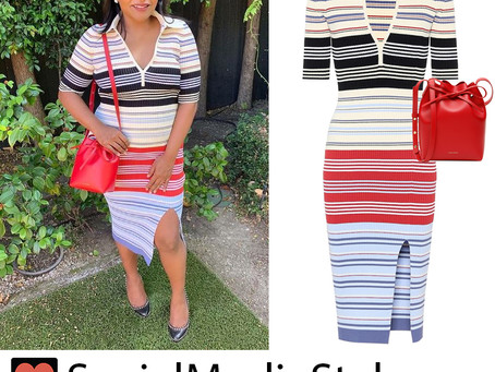 Mindy Kaling's striped dress and red bucket bag