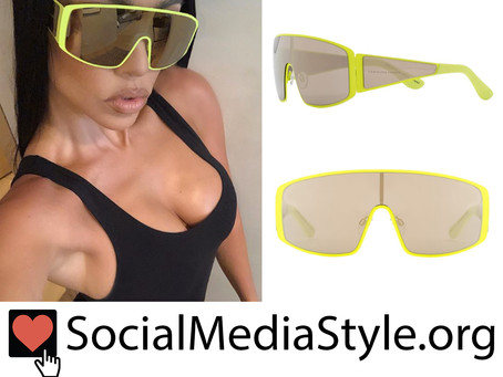 Kourtney Kardashian's yellow shield sunglasses