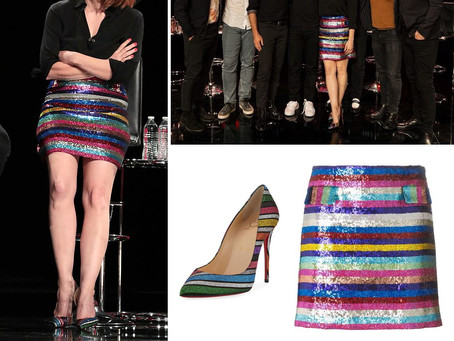 Jessica Chastain's sparkly striped skirt and pumps from Comic-Con 2019