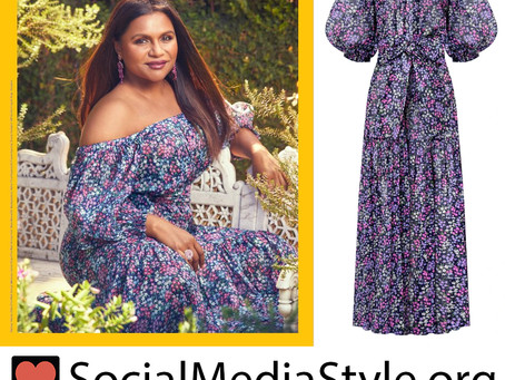 Mindy Kaling's purple floral print dress from Variety